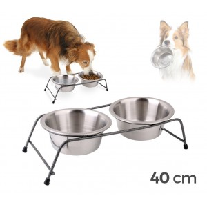 180593 Doble comedero de acero para perros criados de 40x8,5 cm