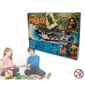 Juego de construcción de barco pirata +200 piezas para montar con 3 personajes